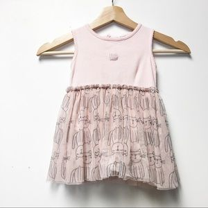 Absorba Pink Ribbed Kitty Tulle Dress Onesie 18M